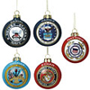 Glass Ornaments - Army, Navy, Air Force, Marines